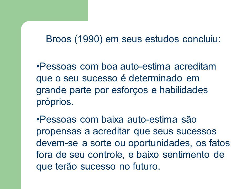 Broos (1990) em seus estudos concluiu: Pessoas com boa auto-estima acreditam que o seu sucesso é determinado em grande parte por esforços e habilidade