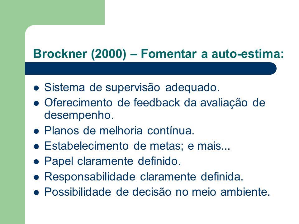 Brockner (2000) – Fomentar a auto-estima: Sistema de supervisão adequado. Oferecimento de feedback da avaliação de desempenho. Planos de melhoria cont