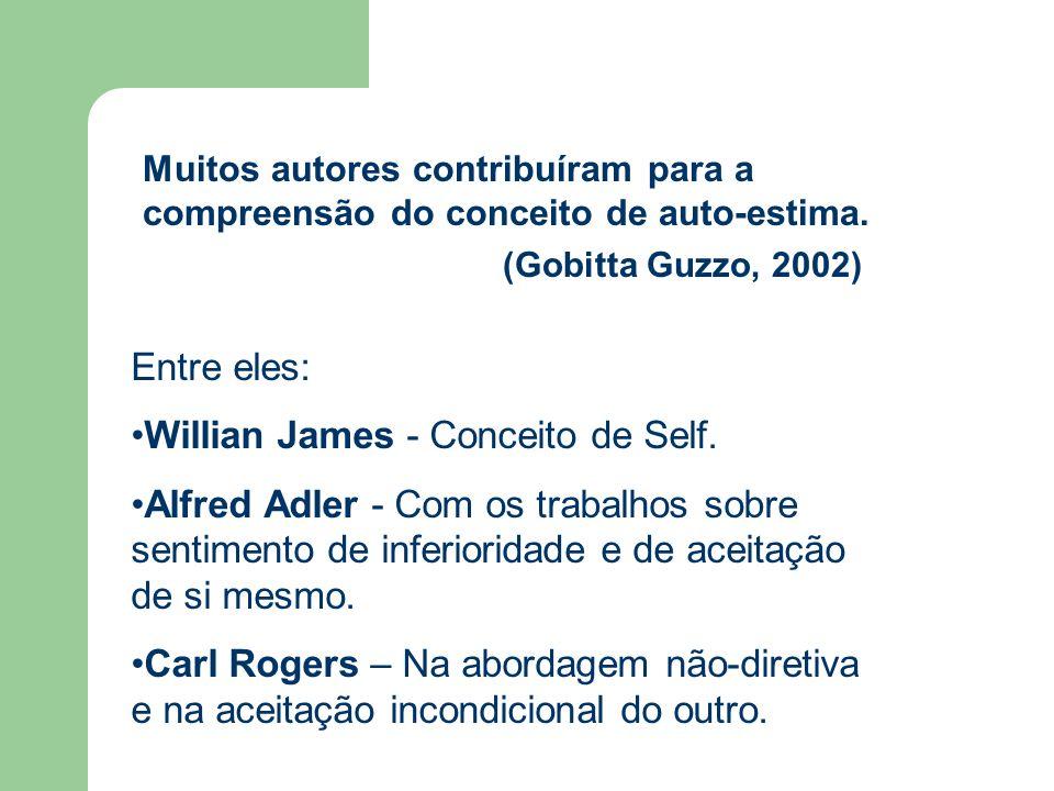 Muitos autores contribuíram para a compreensão do conceito de auto-estima. (Gobitta Guzzo, 2002) Entre eles: Willian James - Conceito de Self. Alfred