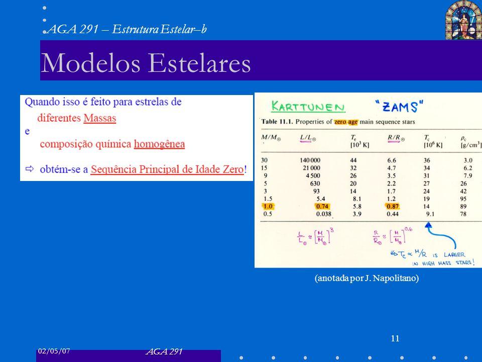 02/05/07 AGA 291 AGA 291 – Estrutura Estelar–b 11 Modelos Estelares (anotada por J. Napolitano)