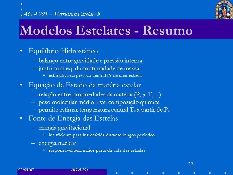02/05/07 AGA 291 AGA 291 – Estrutura Estelar–b 12 Modelos Estelares - Resumo Equilíbrio Hidrostático –balanço entre gravidade e pressão interna –junto com eq.