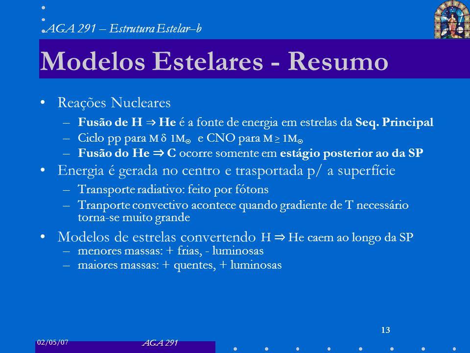 02/05/07 AGA 291 AGA 291 – Estrutura Estelar–b 13 Modelos Estelares - Resumo Reações Nucleares –Fusão de H He é a fonte de energia em estrelas da Seq.