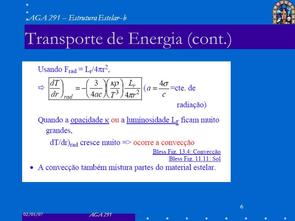 02/05/07 AGA 291 AGA 291 – Estrutura Estelar–b 6 Transporte de Energia (cont.)