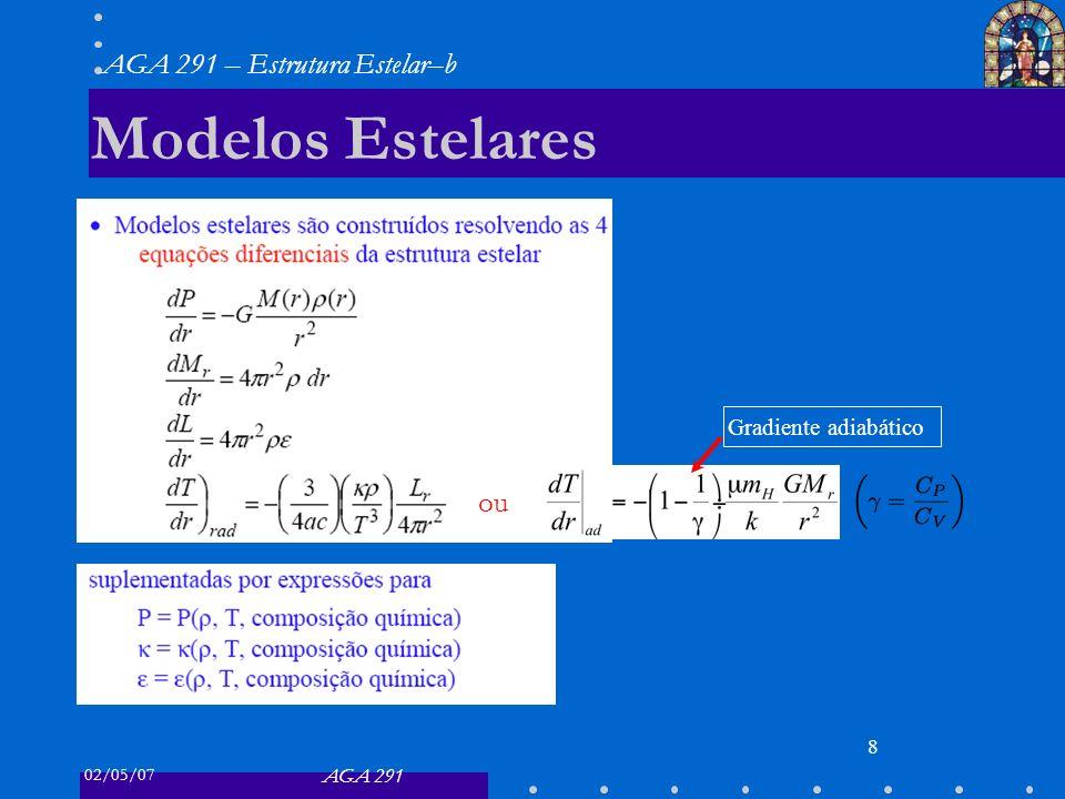 02/05/07 AGA 291 AGA 291 – Estrutura Estelar–b 8 Modelos Estelares ou Gradiente adiabático