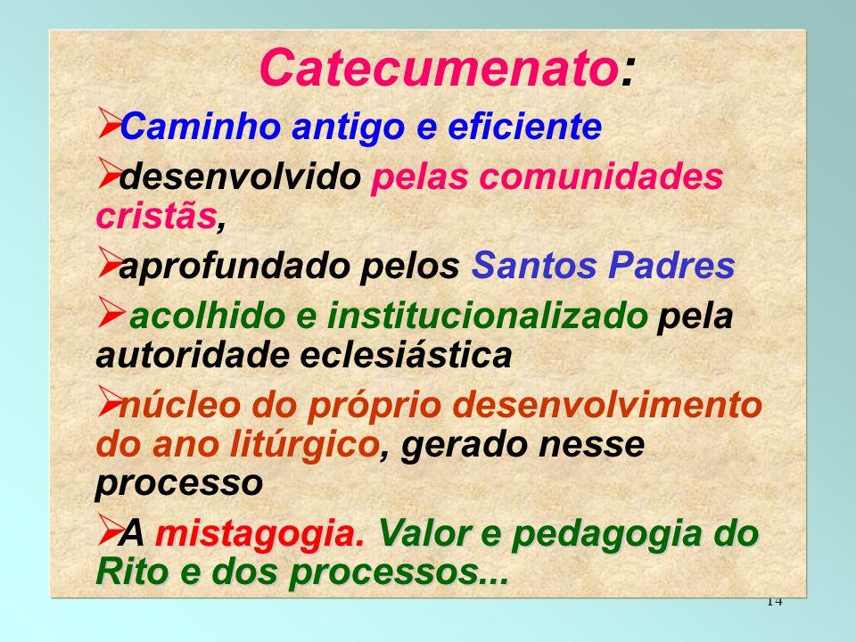 14 Catecumenato: Caminho antigo e eficiente desenvolvido pelas comunidades cristãs, aprofundado pelos Santos Padres acolhido e institucionalizado pela
