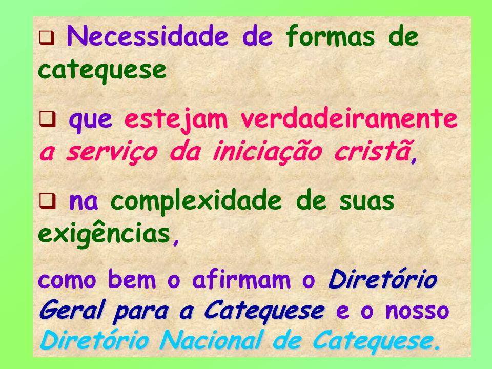 17 Necessidade de formas de catequese que estejam verdadeiramente a serviço da iniciação cristã, na complexidade de suas exigências, Diretório Geral p