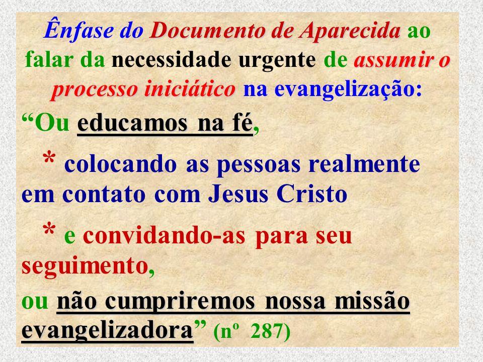 19 Documento de Aparecida assumir o processo iniciático Ênfase do Documento de Aparecida ao falar da necessidade urgente de assumir o processo iniciát