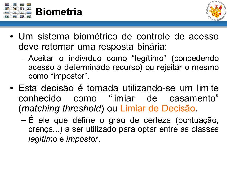 Um sistema biométrico de controle de acesso deve retornar uma resposta binária: –Aceitar o indivíduo como legítimo (concedendo acesso a determinado re