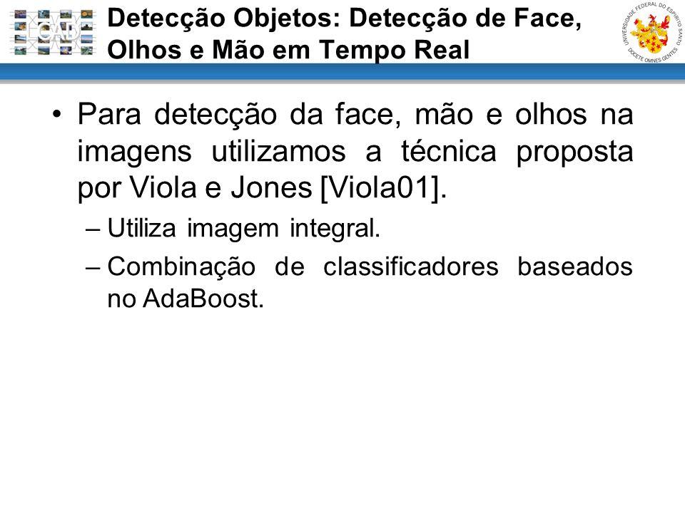 Detecção Objetos: Detecção de Face, Olhos e Mão em Tempo Real Para detecção da face, mão e olhos na imagens utilizamos a técnica proposta por Viola e