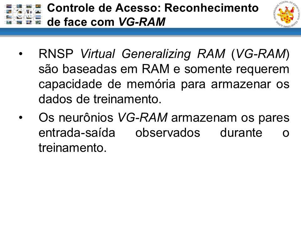 RNSP Virtual Generalizing RAM (VG-RAM) são baseadas em RAM e somente requerem capacidade de memória para armazenar os dados de treinamento. Os neurôni