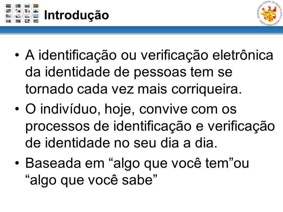 Introdução A identificação ou verificação eletrônica da identidade de pessoas tem se tornado cada vez mais corriqueira. O indivíduo, hoje, convive com
