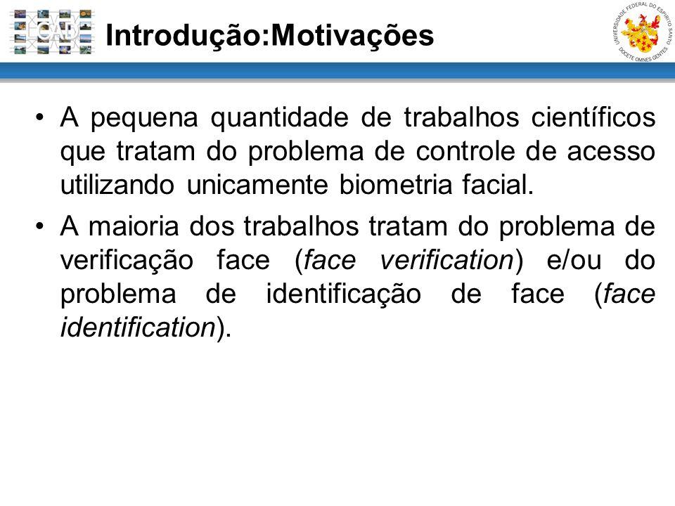 Introdução:Motivações A pequena quantidade de trabalhos científicos que tratam do problema de controle de acesso utilizando unicamente biometria facia