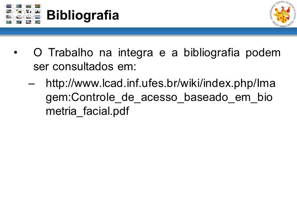 O Trabalho na integra e a bibliografia podem ser consultados em: –http://www.lcad.inf.ufes.br/wiki/index.php/Ima gem:Controle_de_acesso_baseado_em_bio