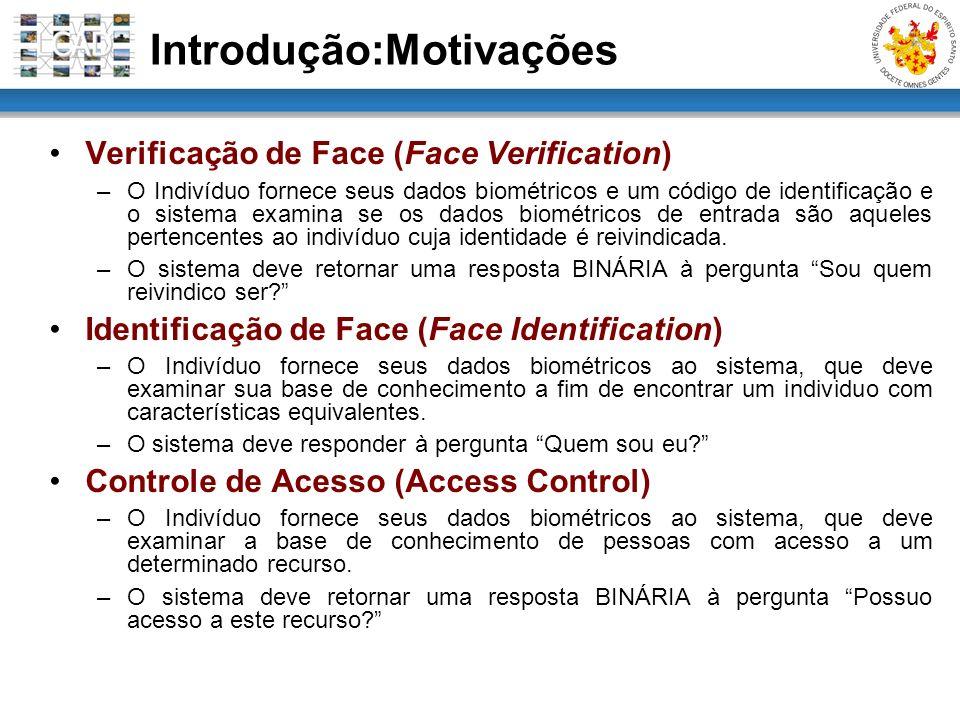 Introdução:Motivações Verificação de Face (Face Verification) –O Indivíduo fornece seus dados biométricos e um código de identificação e o sistema exa