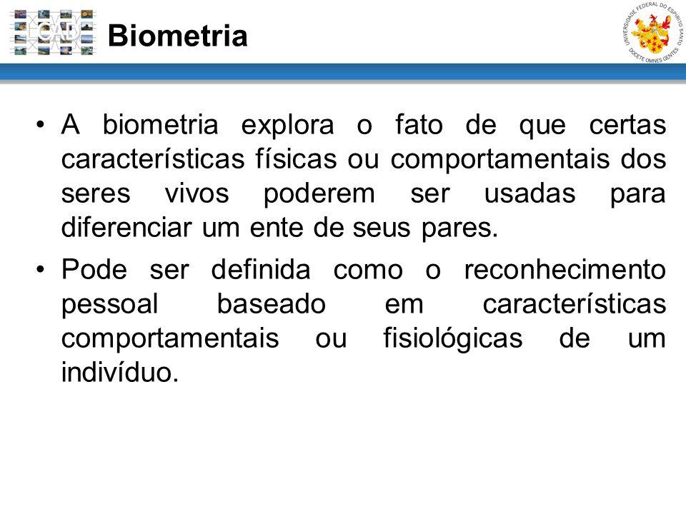 A biometria explora o fato de que certas características físicas ou comportamentais dos seres vivos poderem ser usadas para diferenciar um ente de seu