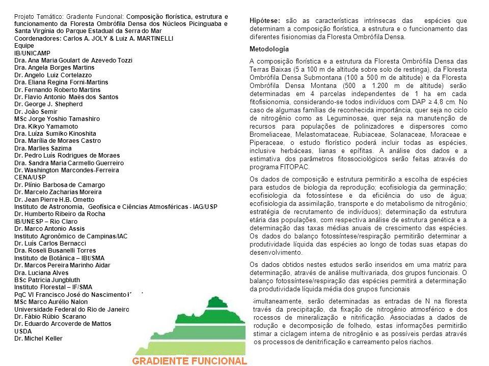 Projeto Temático: Gradiente Funcional: Composição florística, estrutura e funcionamento da Floresta Ombrófila Densa dos Núcleos Picinguaba e Santa Vir
