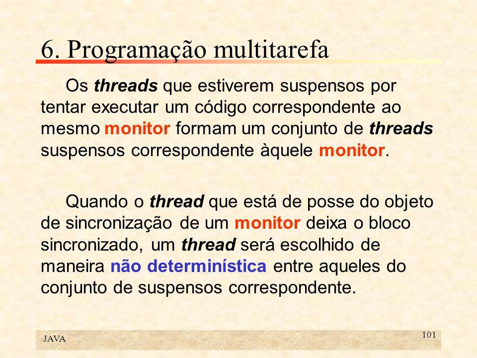 JAVA 101 6. Programação multitarefa Os threads que estiverem suspensos por tentar executar um código correspondente ao mesmo monitor formam um conjunt