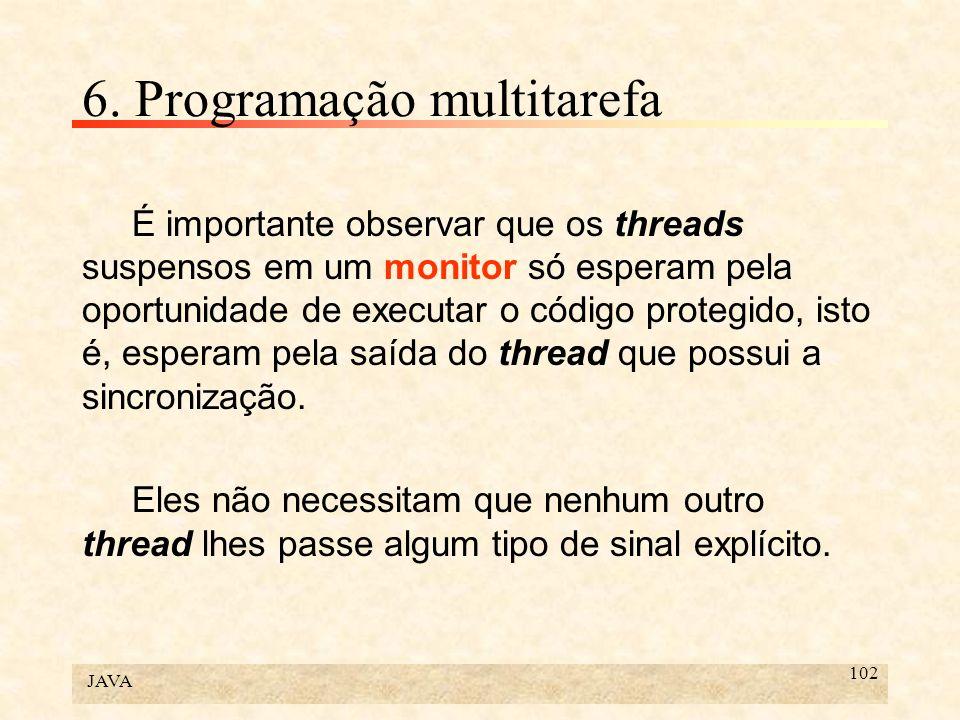 JAVA 102 6. Programação multitarefa É importante observar que os threads suspensos em um monitor só esperam pela oportunidade de executar o código pro