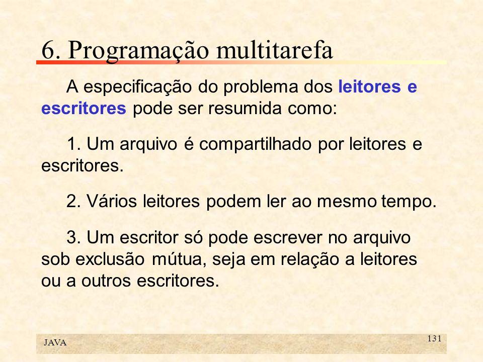 JAVA 131 6. Programação multitarefa A especificação do problema dos leitores e escritores pode ser resumida como: 1. Um arquivo é compartilhado por le