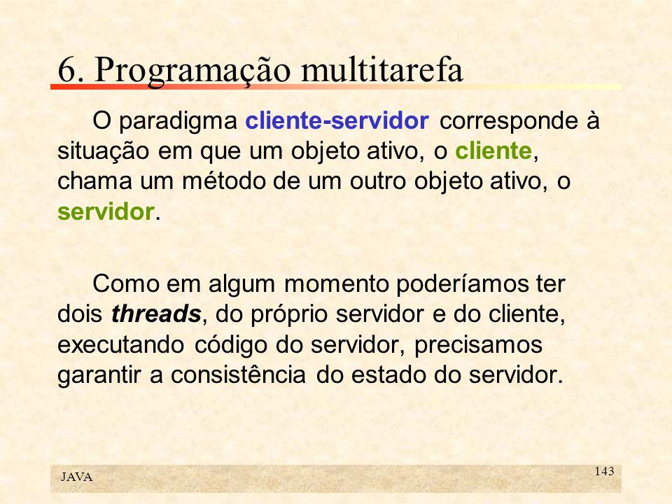 JAVA 143 6. Programação multitarefa O paradigma cliente-servidor corresponde à situação em que um objeto ativo, o cliente, chama um método de um outro