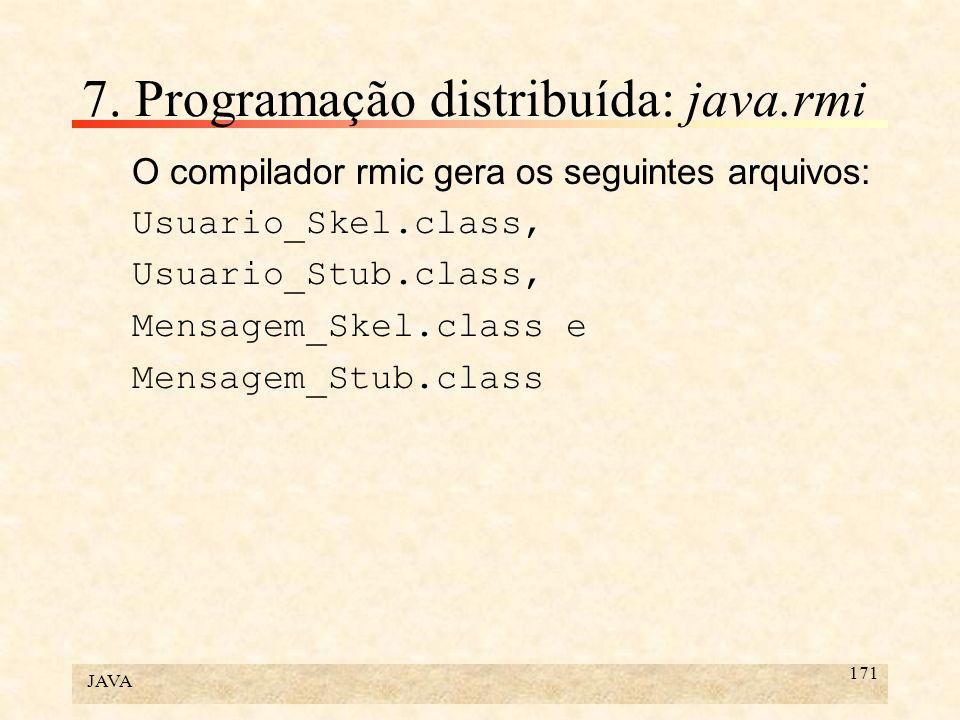 JAVA 171 7. Programação distribuída: java.rmi O compilador rmic gera os seguintes arquivos: Usuario_Skel.class, Usuario_Stub.class, Mensagem_Skel.clas