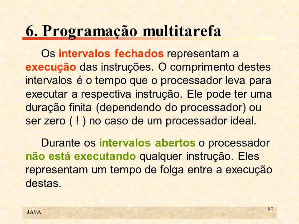 JAVA 87 6. Programação multitarefa Os intervalos fechados representam a execução das instruções. O comprimento destes intervalos é o tempo que o proce