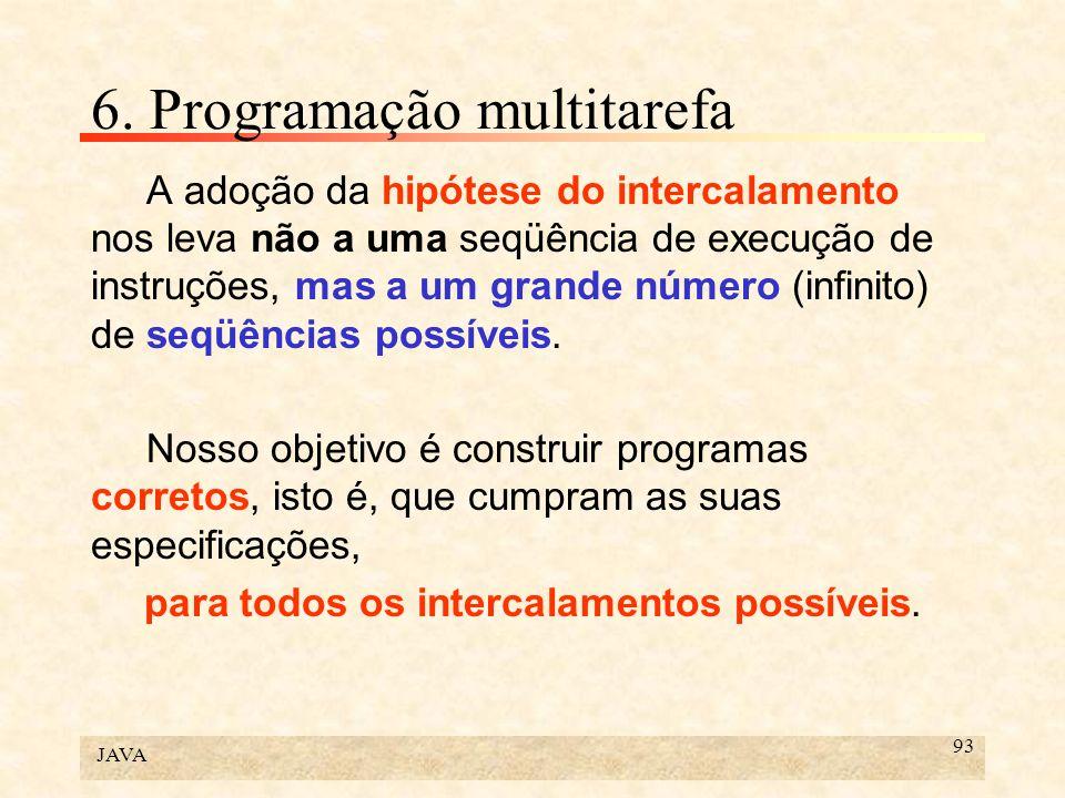 JAVA 93 6. Programação multitarefa A adoção da hipótese do intercalamento nos leva não a uma seqüência de execução de instruções, mas a um grande núme
