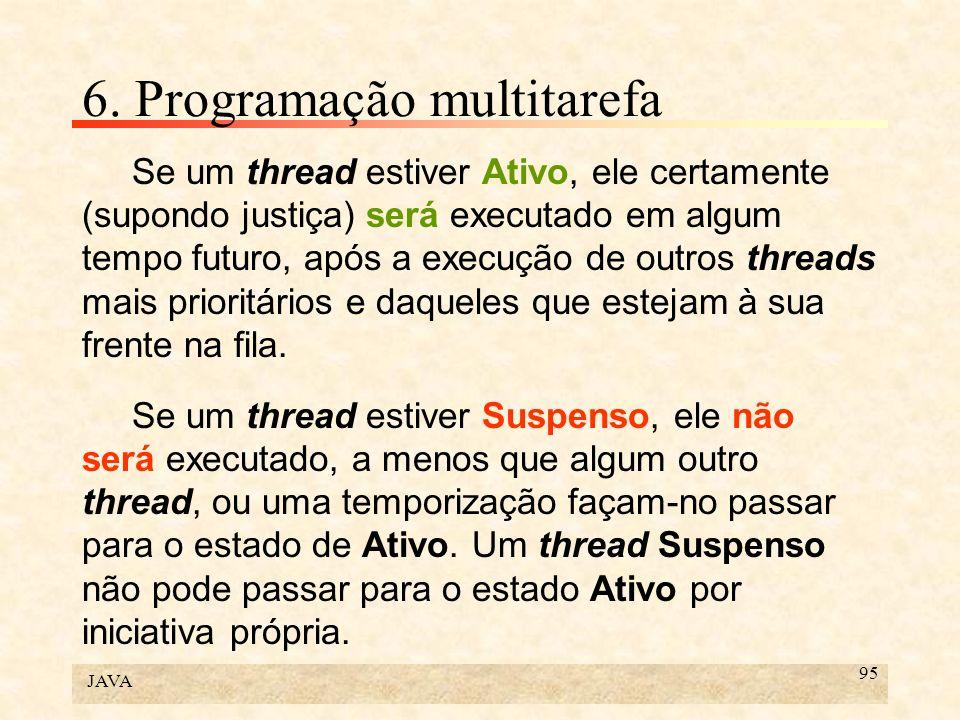 JAVA 95 6. Programação multitarefa Se um thread estiver Ativo, ele certamente (supondo justiça) será executado em algum tempo futuro, após a execução