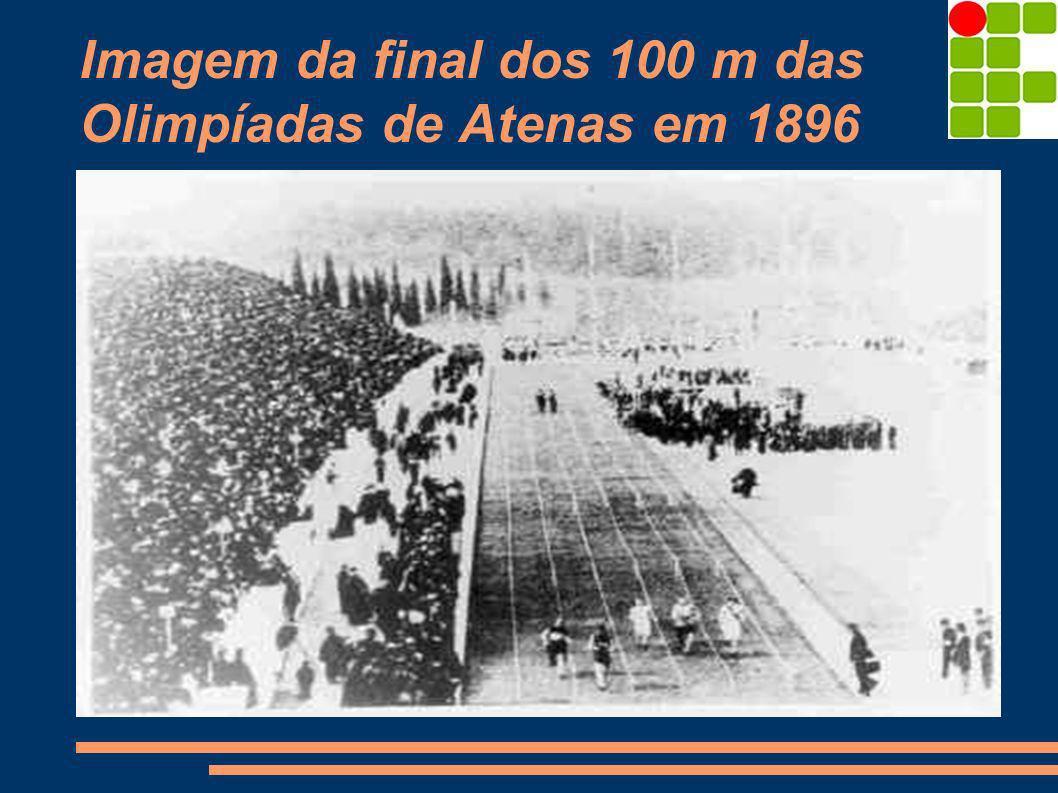 Imagem da final dos 100 m das Olimpíadas de Atenas em 1896