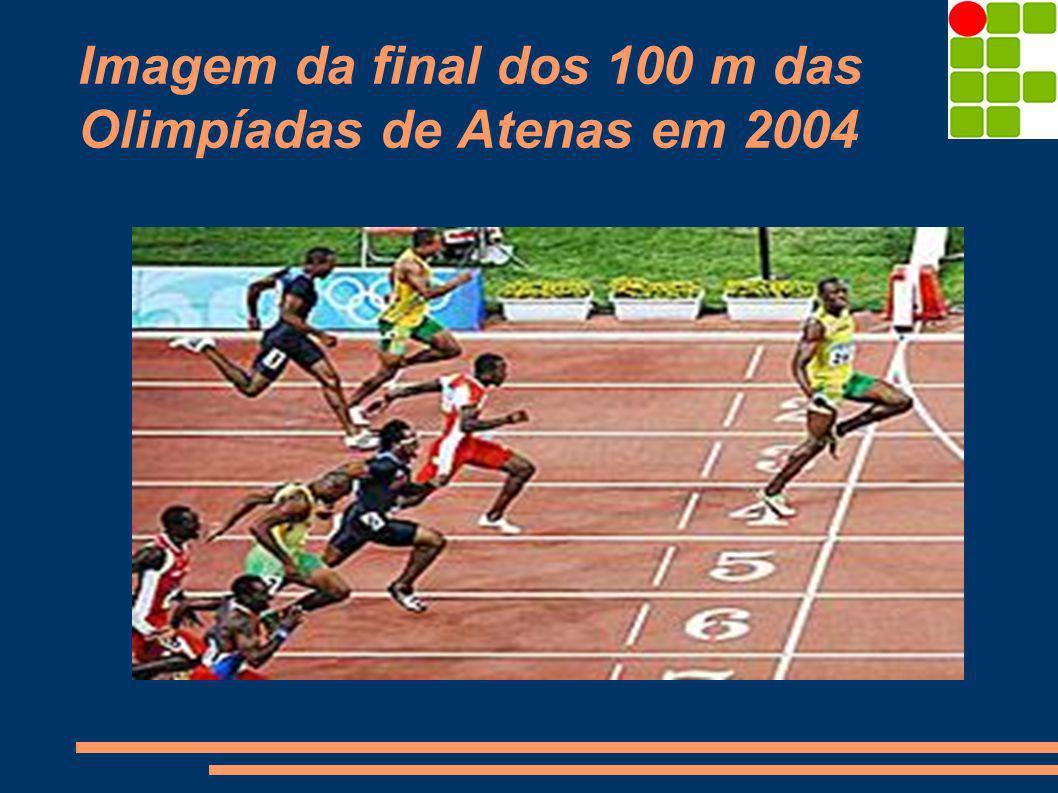 Imagem da final dos 100 m das Olimpíadas de Atenas em 2004