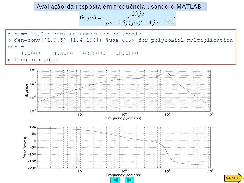 Avaliação da resposta em frequência usando o MATLAB » num=[25,0]; %define numerator polynomial » den=conv([1,0.5],[1,4,100]) %use CONV for polynomial