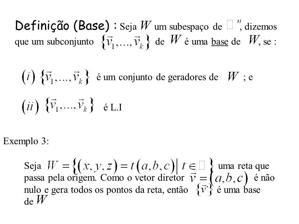 Definição (Base) : Seja um subespaço de, dizemos que um subconjunto de é uma base de, se : é um conjunto de geradores de ; e é L.I Seja uma reta que p