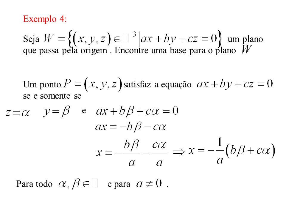 Exemplo 4: Seja um plano que passa pela origem. Encontre uma base para o plano Um ponto satisfaz a equação se e somente se e Para todo e para.