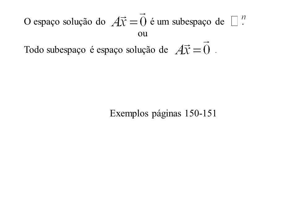 O espaço solução do é um subespaço de. ou Exemplos páginas 150-151 Todo subespaço é espaço solução de.