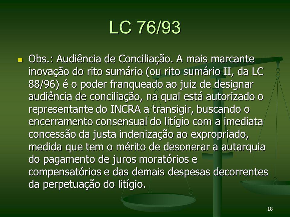 LC 76/93 Obs.: Audiência de Conciliação.