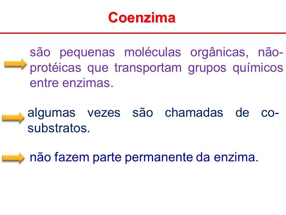 Coenzima são pequenas moléculas orgânicas, não- protéicas que transportam grupos químicos entre enzimas. algumas vezes são chamadas de co- substratos.