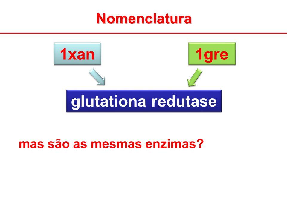 Nomenclatura 1xan 1gre glutationa redutase mas são as mesmas enzimas?