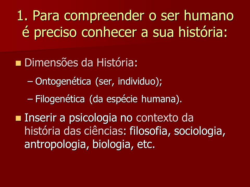 1. Para compreender o ser humano é preciso conhecer a sua história: Dimensões da História: Dimensões da História: –Ontogenética (ser, individuo); –Fil