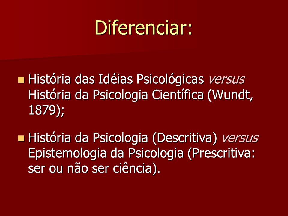 Diferenciar: História das Idéias Psicológicas versus História da Psicologia Científica (Wundt, 1879); História das Idéias Psicológicas versus História