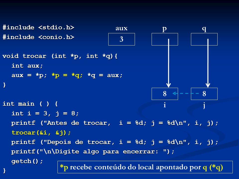 #include #include void trocar (int *p, int *q){ int aux; aux = *p; *p = *q; *q = aux; } int main ( ) { int i = 3, j = 8; printf (