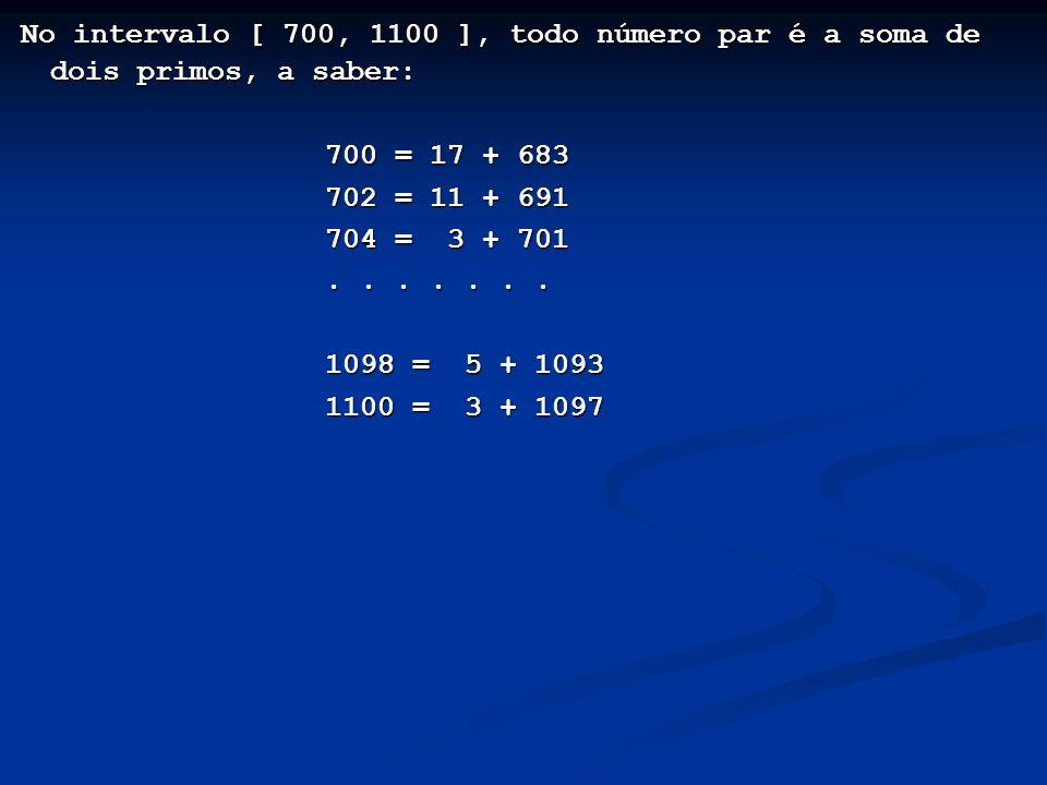 No intervalo [ 700, 1100 ], todo número par é a soma de dois primos, a saber: No intervalo [ 700, 1100 ], todo número par é a soma de dois primos, a s