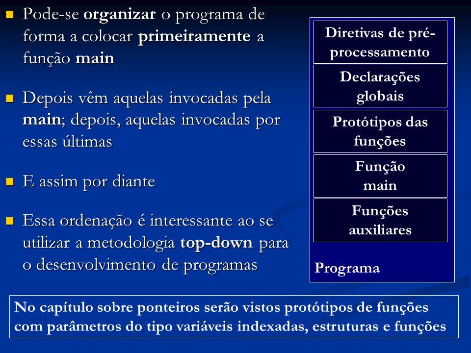 Pode-se organizar o programa de forma a colocar primeiramente a função main Pode-se organizar o programa de forma a colocar primeiramente a função mai