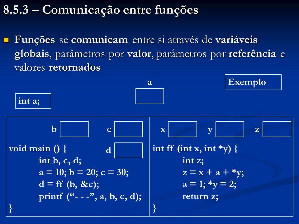 8.5.3 – Comunicação entre funções Funções se comunicam entre si através de variáveis globais, parâmetros por valor, parâmetros por referência e valore