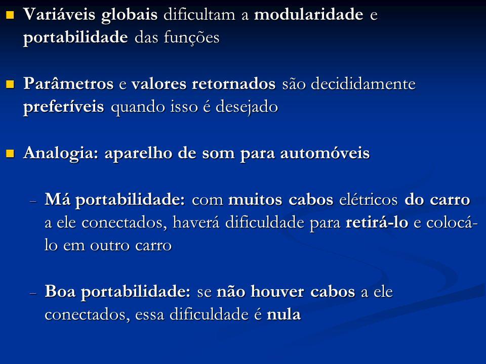 Variáveis globais dificultam a modularidade e portabilidade das funções Variáveis globais dificultam a modularidade e portabilidade das funções Parâme