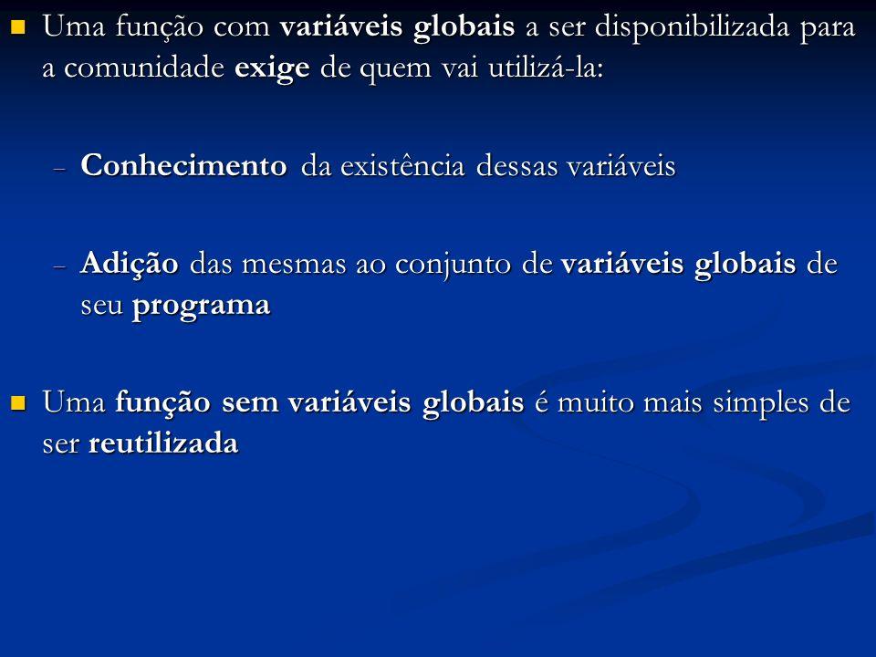 Uma função com variáveis globais a ser disponibilizada para a comunidade exige de quem vai utilizá-la: Uma função com variáveis globais a ser disponib
