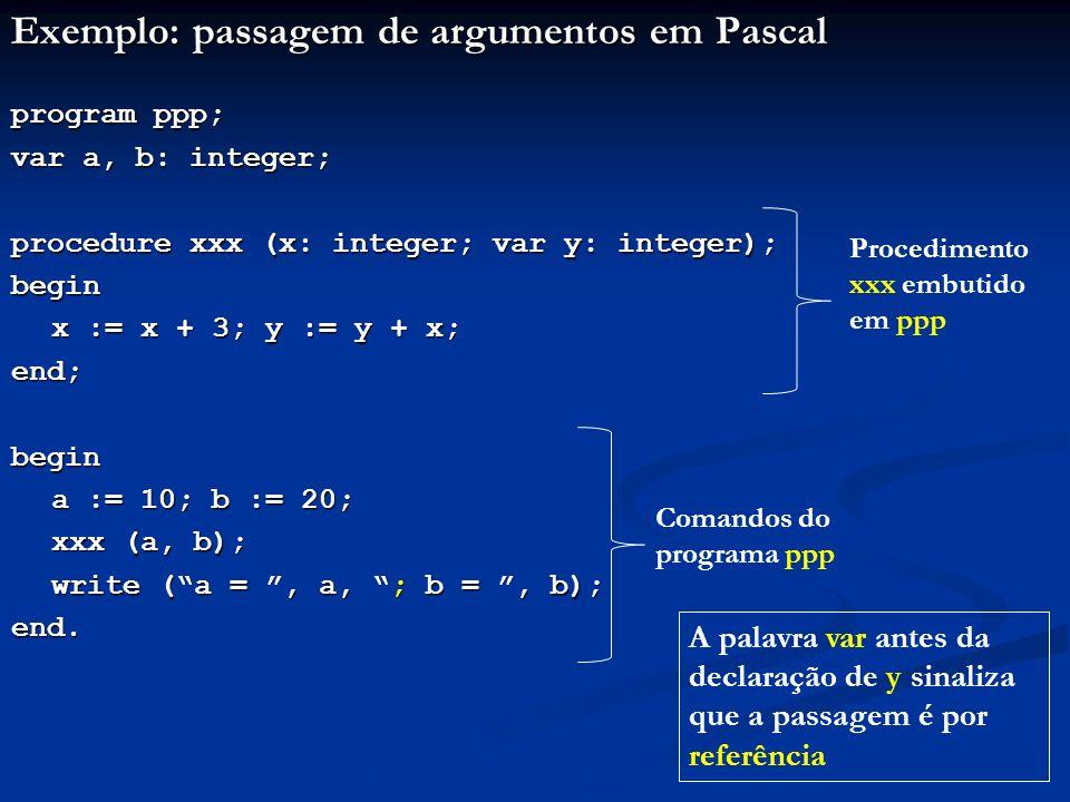 Seja a execução deste programa: program ppp; var a, b: integer; procedure xxx (x: integer; var y: integer); begin x := x + 3; y := y + x; end;begin a := 10; b := 20; xxx (a, b); write (a =, a, ; b =, b); end.