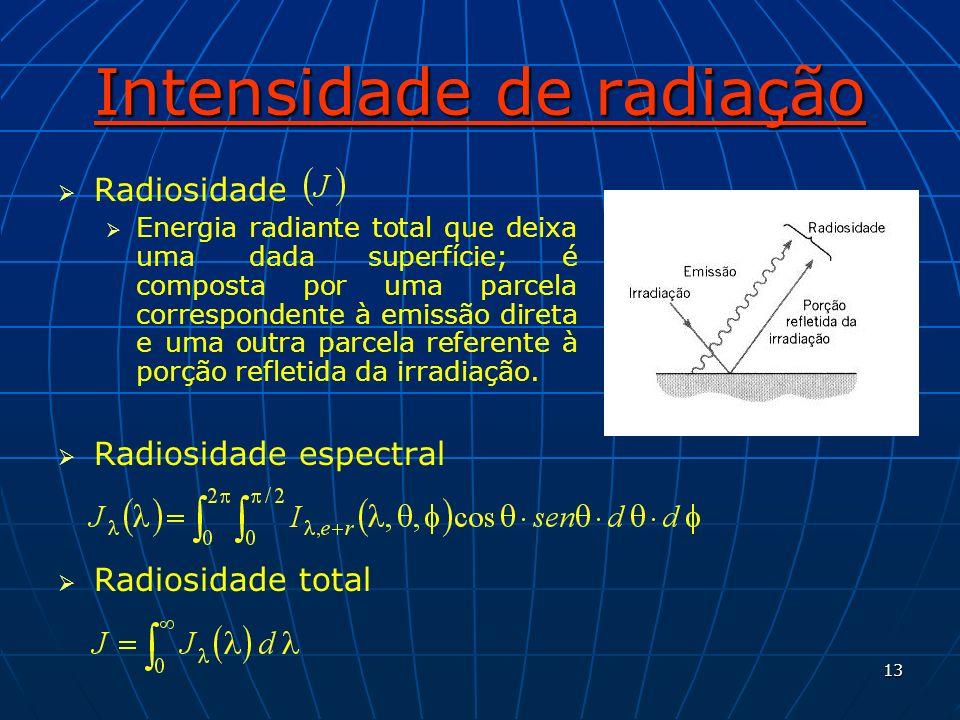 13 Intensidade de radiação Radiosidade Energia radiante total que deixa uma dada superfície; é composta por uma parcela correspondente à emissão diret