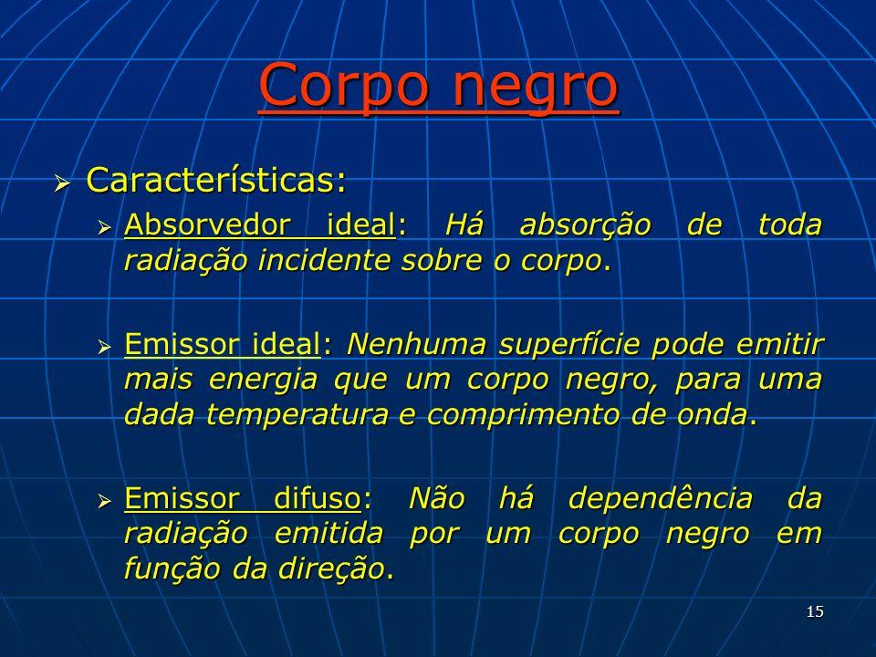 15 Corpo negro Características: Características: Absorvedor ideal: Há absorção de toda radiação incidente sobre o corpo. Absorvedor ideal: Há absorção