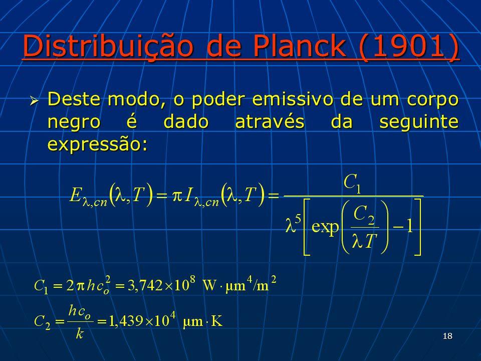 18 Distribuição de Planck (1901) Deste modo, o poder emissivo de um corpo negro é dado através da seguinte expressão: Deste modo, o poder emissivo de