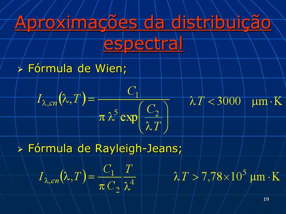 19 Aproximações da distribuição espectral Fórmula de Wien; Fórmula de Wien; Fórmula de Rayleigh-Jeans; Fórmula de Rayleigh-Jeans;